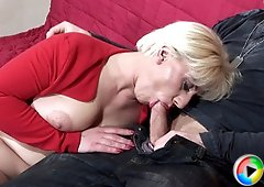 Chubby mom swallows cock balls deep and gets her ass drilled with her legs on guy`s shoulders