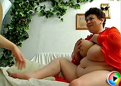 Mature Oliy and plump busty Diana are great lovers of different sexual games and sperm of Palmer