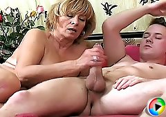 Lustful old woman gets banged sideways and plays with man's dick finally on hot porn dvd.